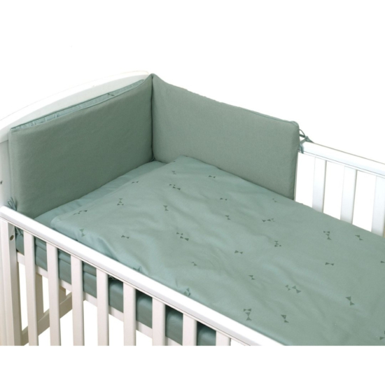 AMY Pure babaágynemű szett rácsvédővel 3 db-os- Kobaltzöld