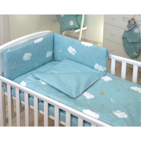 AMY babaágynemű szett rácsvédővel 3 db-os- Türkiz