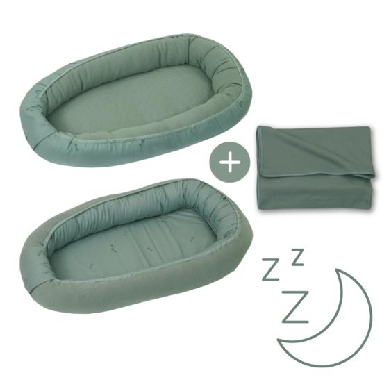 AMY Pure babafészek + vékony kötött takaró, zöld