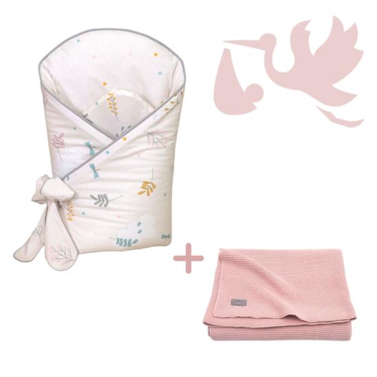 Bézs virágok LUX újszülött hazahozó csomag, 2 részes