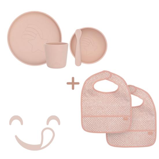 Hamvas rózsaszín LUX gyerek étkészlet szett, 6 részes