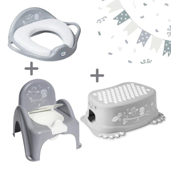 Szürke bagoly LUX szobatisztaság szett-puha WC szűkítővel, 3 részes