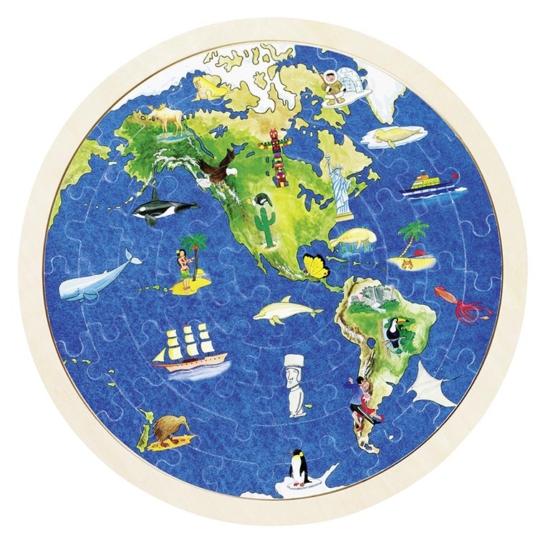 Fa világtérkép puzzle- 57 db-os