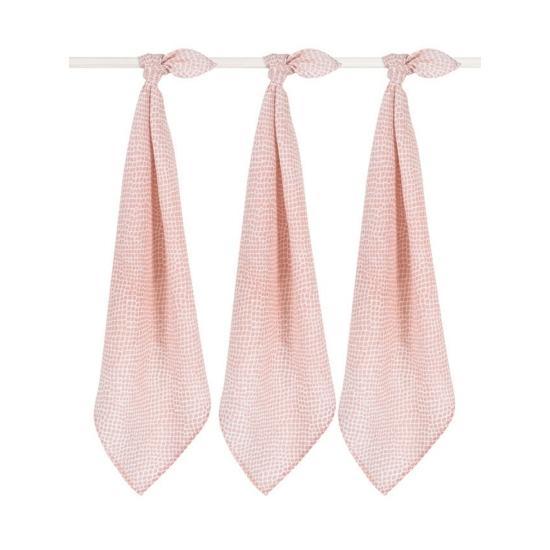 Jollein prémium textil pelenka, 70x70 cm, 3 db- Hamvas rózsaszín