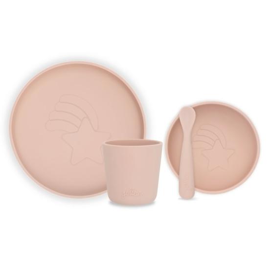 Jollein szilikon gyerek étkészlet, 4 db-os- Hamvas rózsaszín