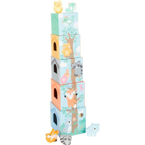 Pasztell toronyépítő kockák, 5 db-os