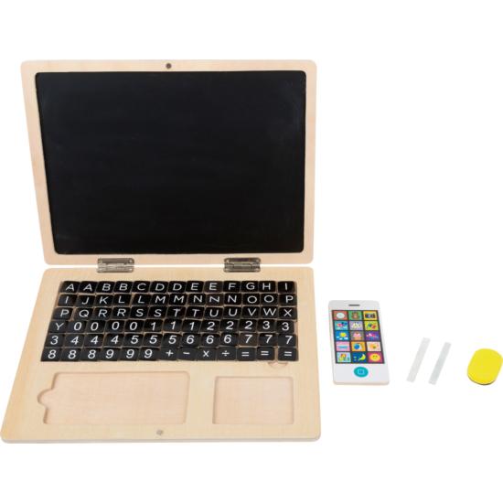 Gyerek laptop, mágneses táblával és mobiltelefonnal
