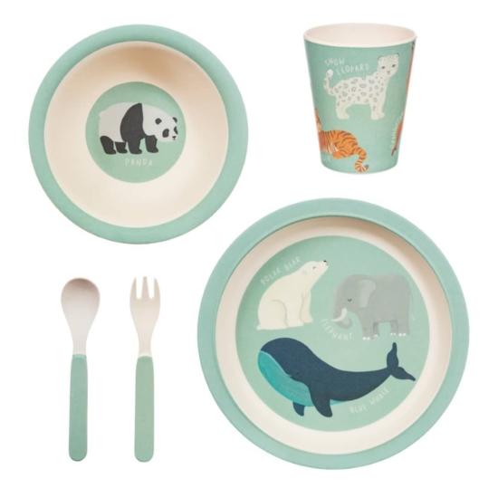 Sass and Belle bambusz gyerek étkészlet, 5 db-os- Védett állatok