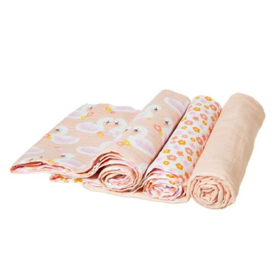 Sass and Belle muszlin textilpelenka, 72x72 cm, 3 db- Hattyú