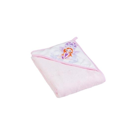 Tega Baby kapucnis baba törölköző, 80x80 cm- Rózsaszín hercegnő