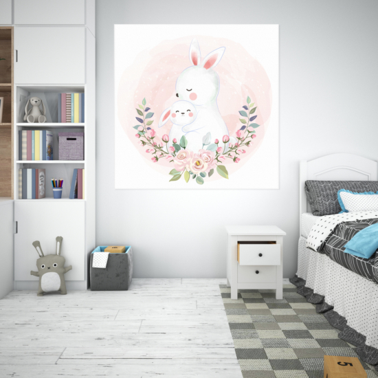 Rózsaszín nyuszik babszoba falikép