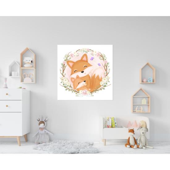 Virágos róka babszoba falikép