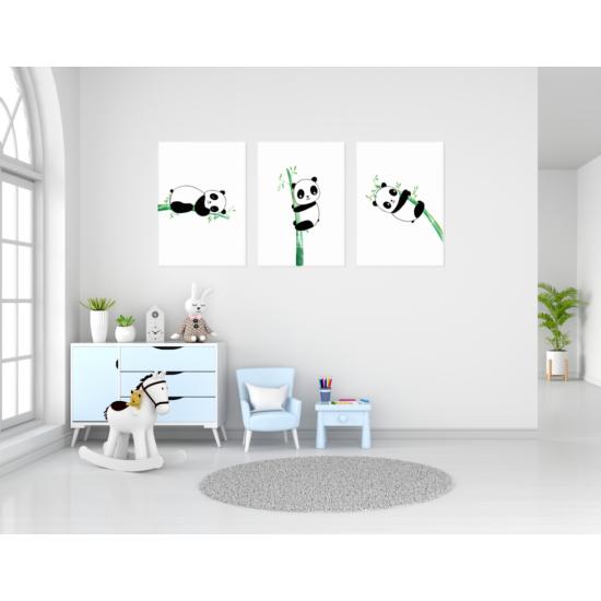 Panda maci babaszoba falikép szett, 3 db-os