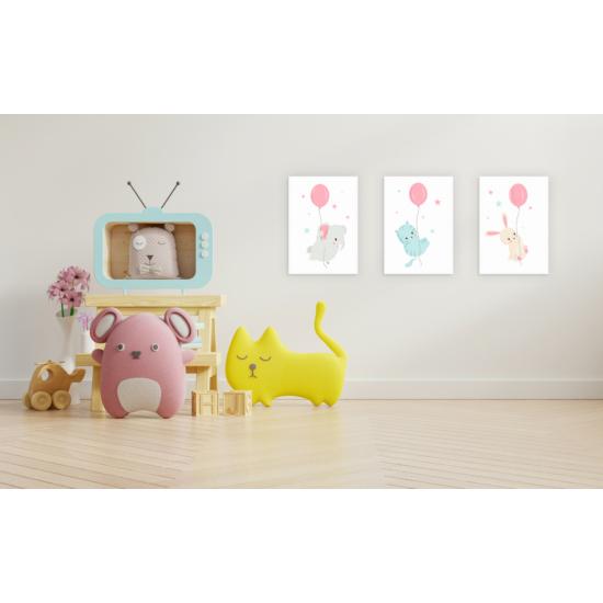 Rózsaszín lufik babaszoba falikép szett, 3 db-os