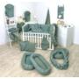 Kép 4/4 - AMY Pure babaágynemű szett rácsvédővel 3 db-os- Kobaltzöld