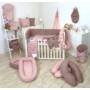 Kép 3/3 - AMY Pure babaágynemű szett rácsvédővel 3 db-os- Rózsaszín
