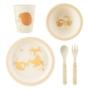Kép 1/3 - Sass and Belle bambusz gyerek étkészlet, 5 db-os- Erdei állatok